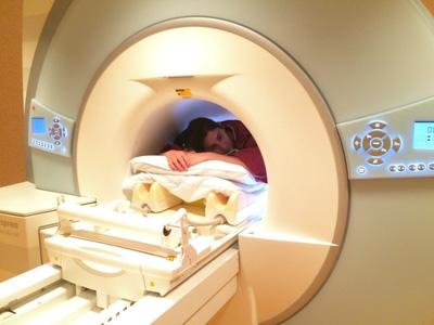 Woman inside MRI machine